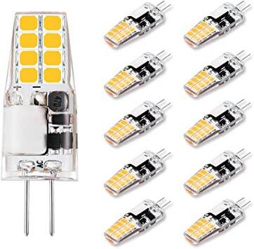 10-Pack Lamsky G4 LED Bulb 3000K Warm White AC DC 12V 3W Equivalent to 30W T3 Halogen Track Bulb Replacement Dustproof Shockproof G4 Bi-Pin Base Light Bulb Non-Dimmable