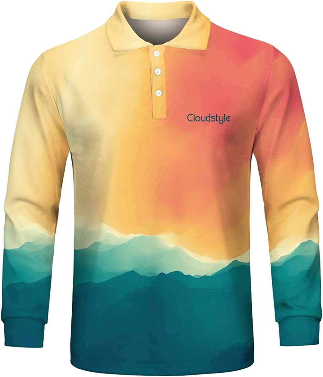 Mens 3D Fashion Polo Shirts Novelty Gradient Contrast Color Tee Top