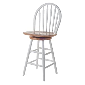"Winsome Wood 53624 Wagner Stool, 24"", White & Natural"