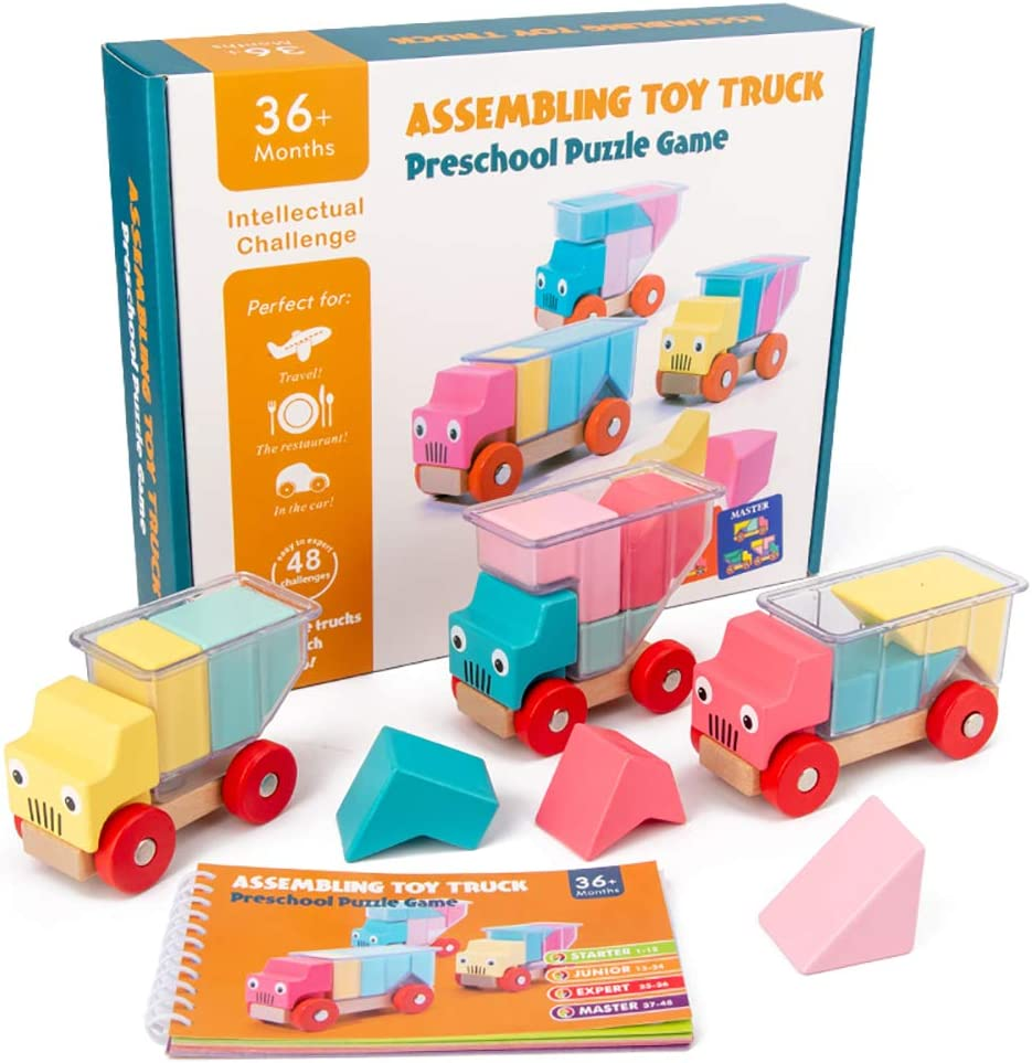 Baby wooden truck building block early education color cognitive education toy, 48 puzzles, 3 truck DIY building block loading and unloading game