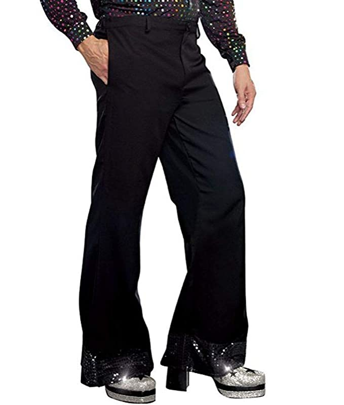 Men's Vintage Pants, Trousers, Jeans, Overalls Alvivi Adult Mens Bell Bottom 60s 70s Disco Pants Sequin Cuff Long Pants Dude Costume Flared Trousers £14.95 AT vintagedancer.com