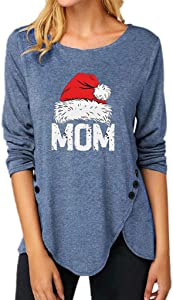 poundy bags Women's Comfy Casual Irregular Button Tops Blouses Round Neck Christmas T Shirts Long Sleeve