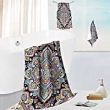 Analisahome Athens 100% Cotton indian floral paisley medallion pattern ethnic mandala ornament vector henna tattoo style can be Beautiful 3 Piece Towel Set