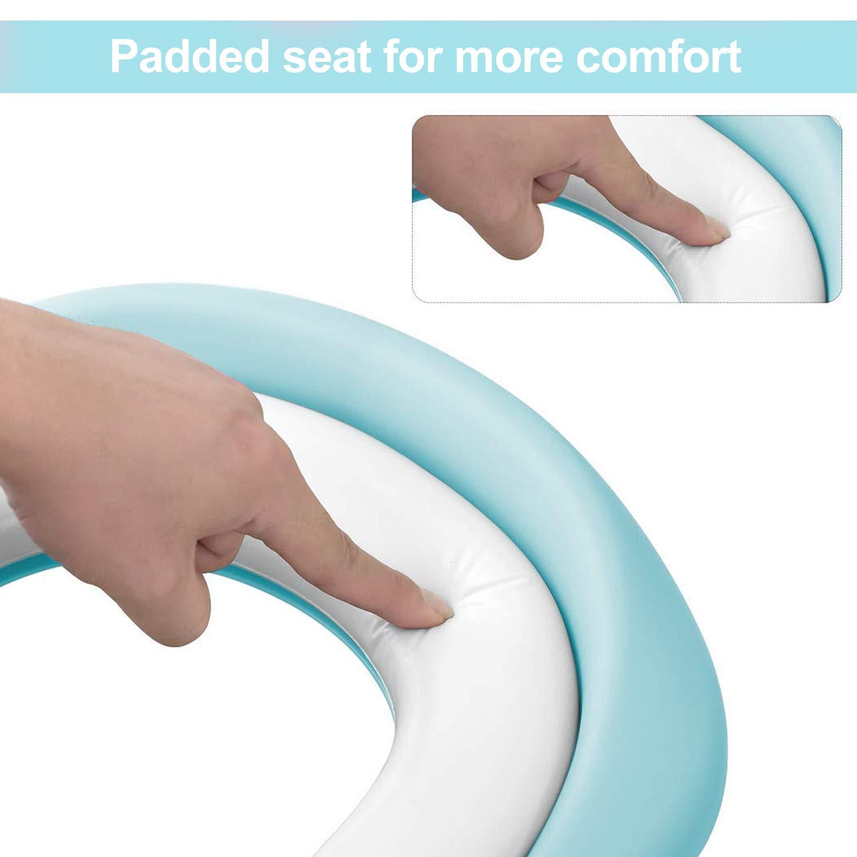 KEPLIN Escalera de asiento de inodoro para ni/ños con escal/ón ancho antideslizante y coj/ín suave rosa rosa