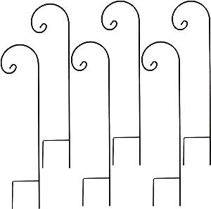 FEED GARDEN Shepherd Hook 35inch 1/4 Inch Thick,Thick Metal High-Grade Hooks,for Wedding Hangings,Bird Feeders, Lanterns, Plant Hangers, Flower Baskets,Black(6 Pack)