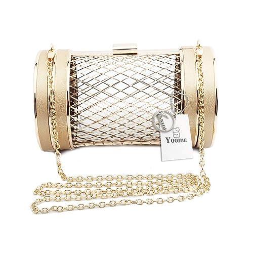 7c9788d8b3 Yoome Womens Girls Cylinder Shape Metal Mesh Cage Clutch Handbag Evening  Party Chain Shoulder Bag: Amazon.ca: Shoes & Handbags
