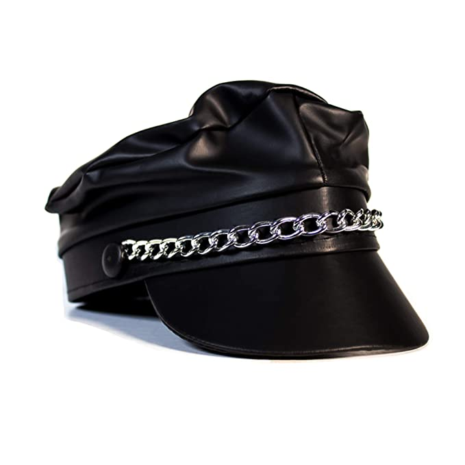 Amazon.com  Black Biker Costume Hat for Men Women Kids  Clothing b35afb23c08