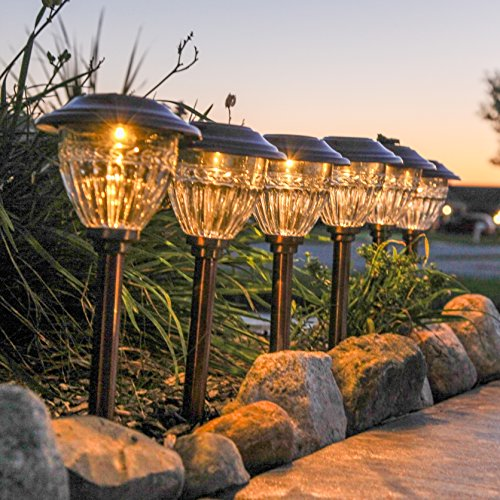 "LampLust Solar Copper Metal Path Lights, Set of 6, Warm White LEDs, 13"" Height, Waterproof, Rechargeable Battery Included"