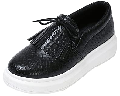 Y boa chaussures bateau casual ville cuir pu mocassins femme fille