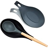 iNeibo Soporte de silicona para cuchara, Buena Flexibilidad, Reposapiés de Silicona para Utensilios de Cocina (3 pcs)
