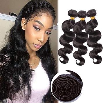 Amazon Com Wavy Hair Weaves Human Hair Sew In Hair 3 Bundles Extensions Weft Body Wave 10 10 10 100g Bundle Wand Brazilian Virgin Hair 1b Natural Black Beauty