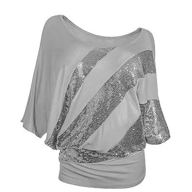 5b39ee7f29e6c Reaso Femme Casual T-shirt Court Manches Épaule Haut Paillette Retro Col  Rond Blouse Chic Hemd Elegant Chemisier Vintage Tunika Ete T-shirt Grande  taille  ...