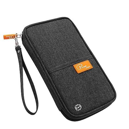 Reisepass Tasche, laxikoo Reisepasshülle mit RFID Blockier Familien Reisebrieftasche Wasserabweisende Ausweistasche Reiseorga
