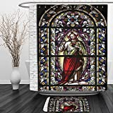 Vipsung Shower Curtain And Ground MatSacred Heart of Jesus Pictures for Catholic Gifts Believe Art Christian Wall Decor Church Cathedral Window View Wall Hanging Silky Satin Tapestry Red Black White B