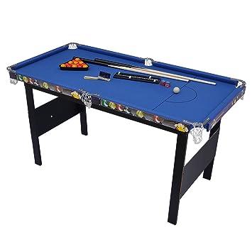 Indoor Games Kids Children Folding Snooker Pool Table Deluxe Billiard Blue