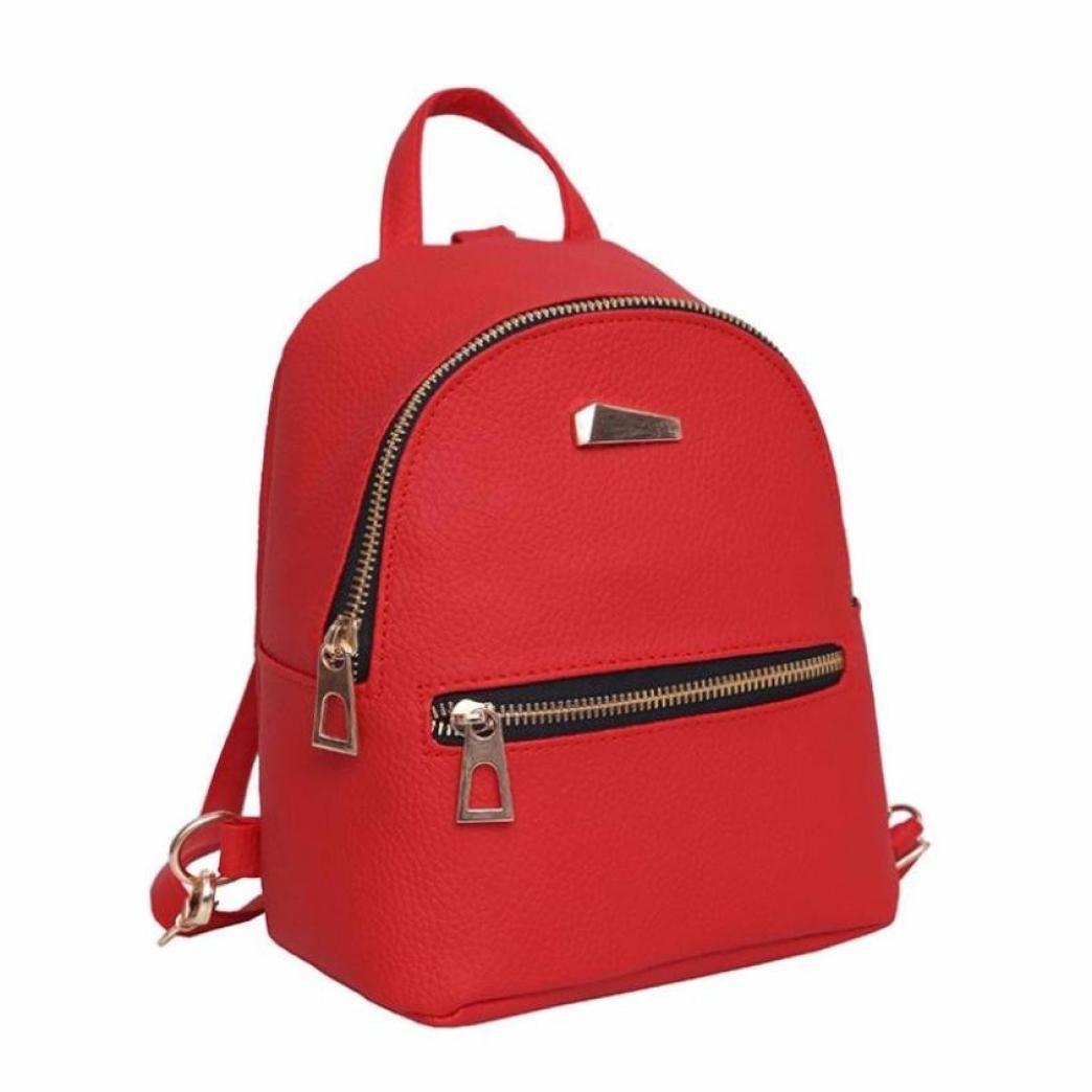 Womens Backpack School Backpack Shoulder Bag Fashion Handbag Travel Bag Messenger Bag Faionny (Red)