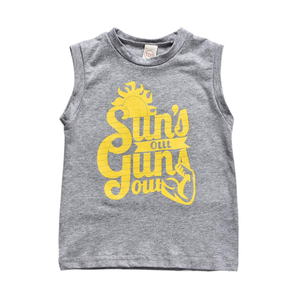 DIGOOD Kids Boys Letter Print SleevelessT-shirt Tops Outfits Vest Clothes For 1-6 Years old Boys