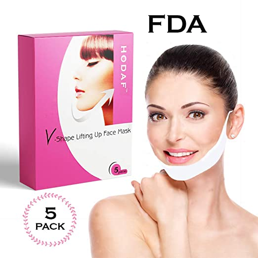 V-Shape Chin Mask - Anti-Age Face Slimming Lifting Patch - Double Chin Neck Zone Fat Reducer - V-Line Anti Wrinkle Firming Moisturizing Tape Mask - Chin Care Tightening Band - Pack of 5 Masks