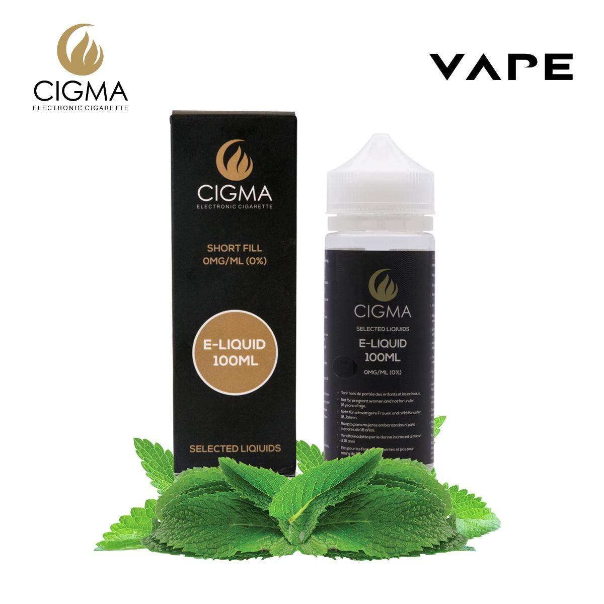 CIGMA Menta Doble 100ml E Liquido 0mg | Nuevas botellas de llenado leve| Fórmula de calidad superior con solo ingredientes de alto grado | Hecho para ...