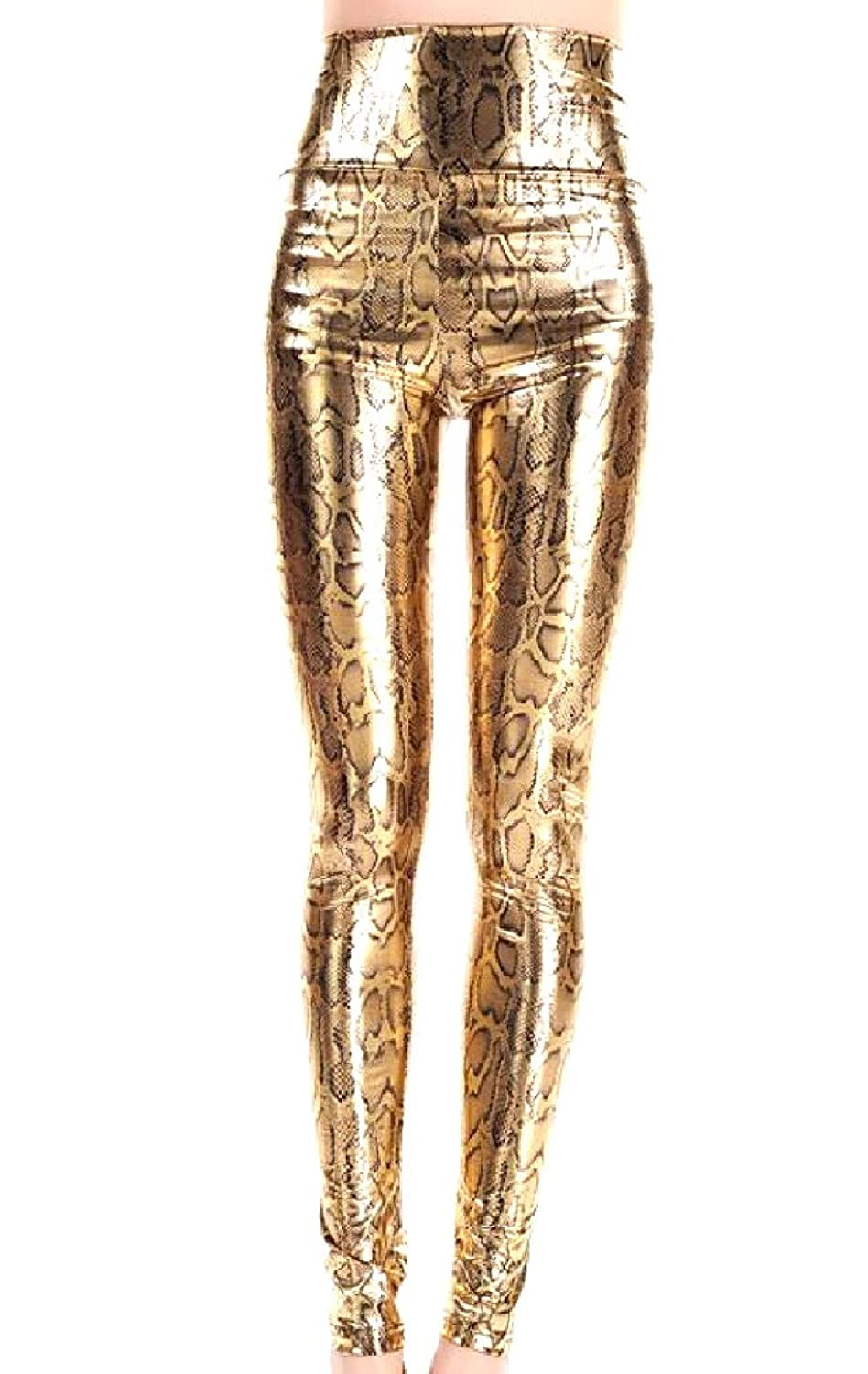 61b797b98eda8 Abetteric Women's Satin Snakeskin Grain Compression Flexible Jeggings