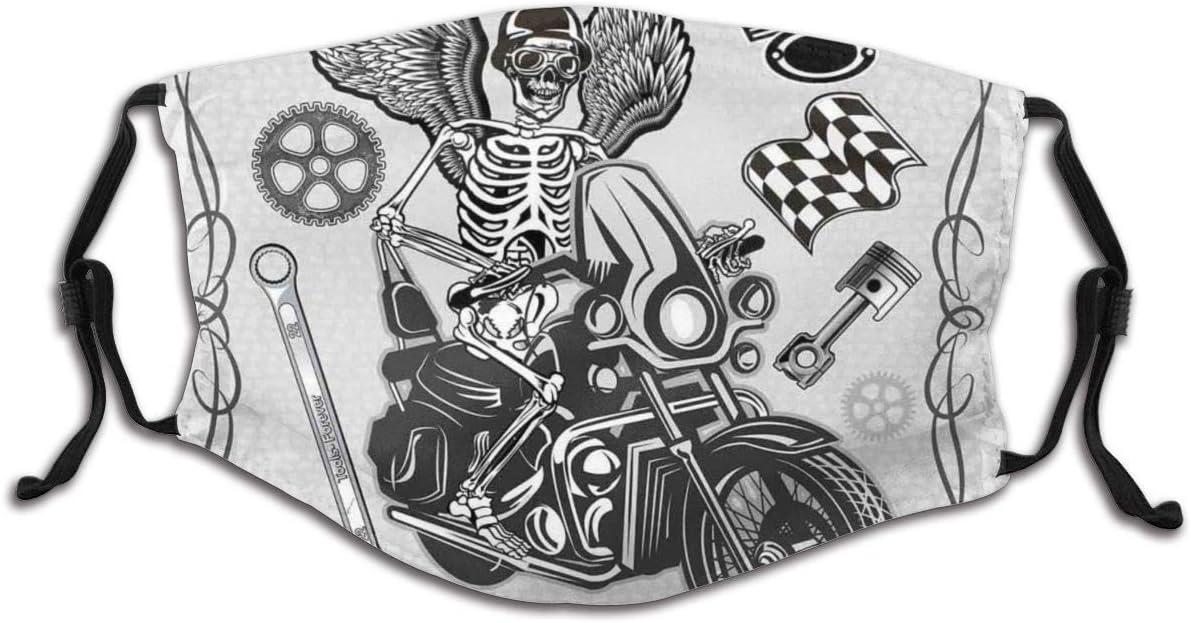 Homme Femme Protection du Visage Evil Hipster Dead Skull Squelette Moto Rider Wings Drive to Hell Humour Image Lavable R/éutilisable Multifonction Couvre-Chef Visage Foulard