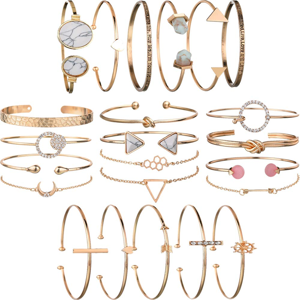 yunanwa 5 Pack (23pcs) Multiple Layered Stackable Open Cuff Wrap Bangle Bracelet Jewelry Adjustable for Women Girls Wholesales Set Assorted by yunanwa