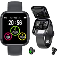 2-in-1 Smart Watch Fitness Activity Tracker Bracelet & Bluetooth Wireless Earbuds - Sleep Monitor - Heart Rate - Blood…