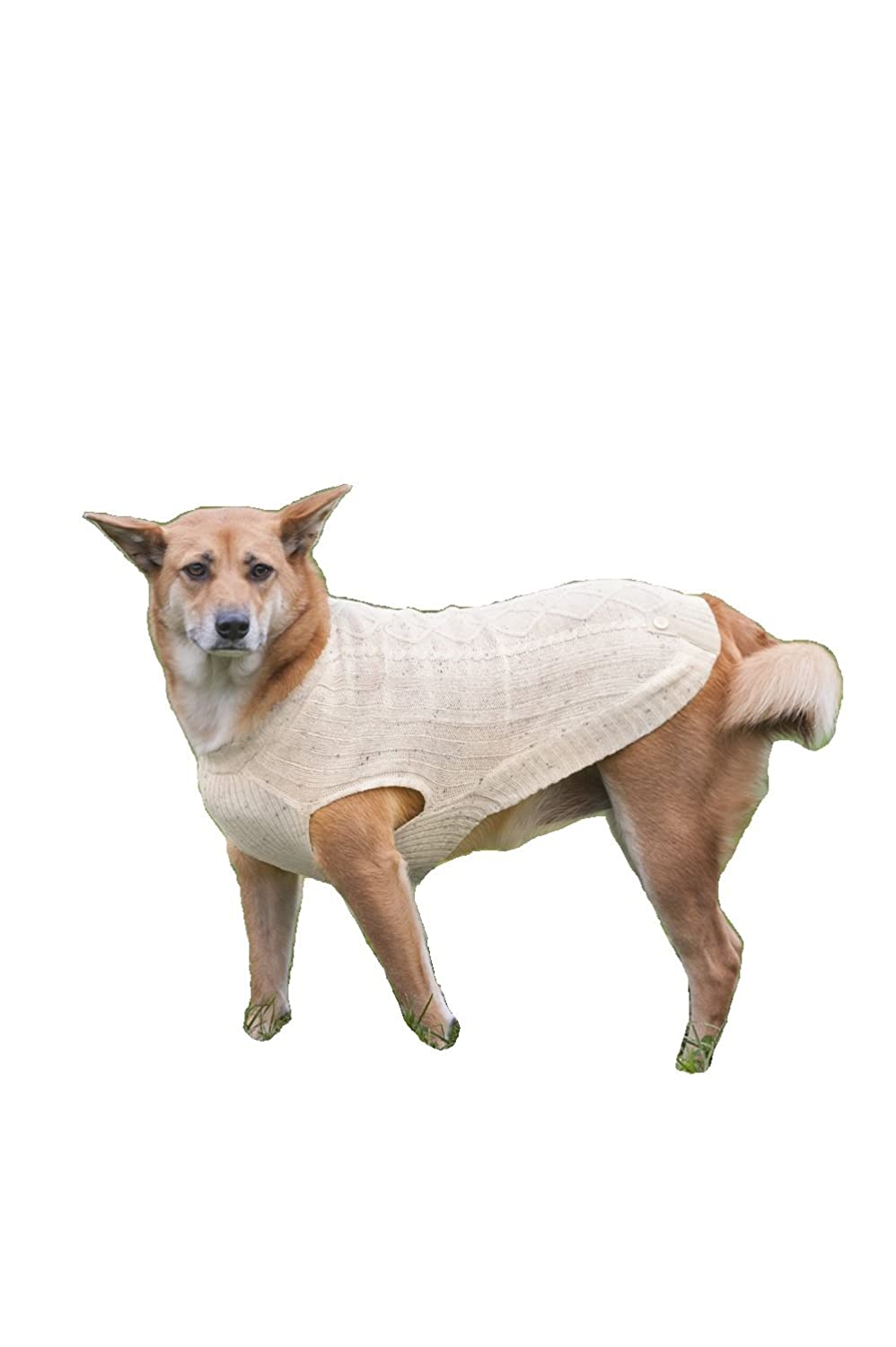 Fashion Pet Outdoor Dog Donegal Cable Sweater, Large, Cream