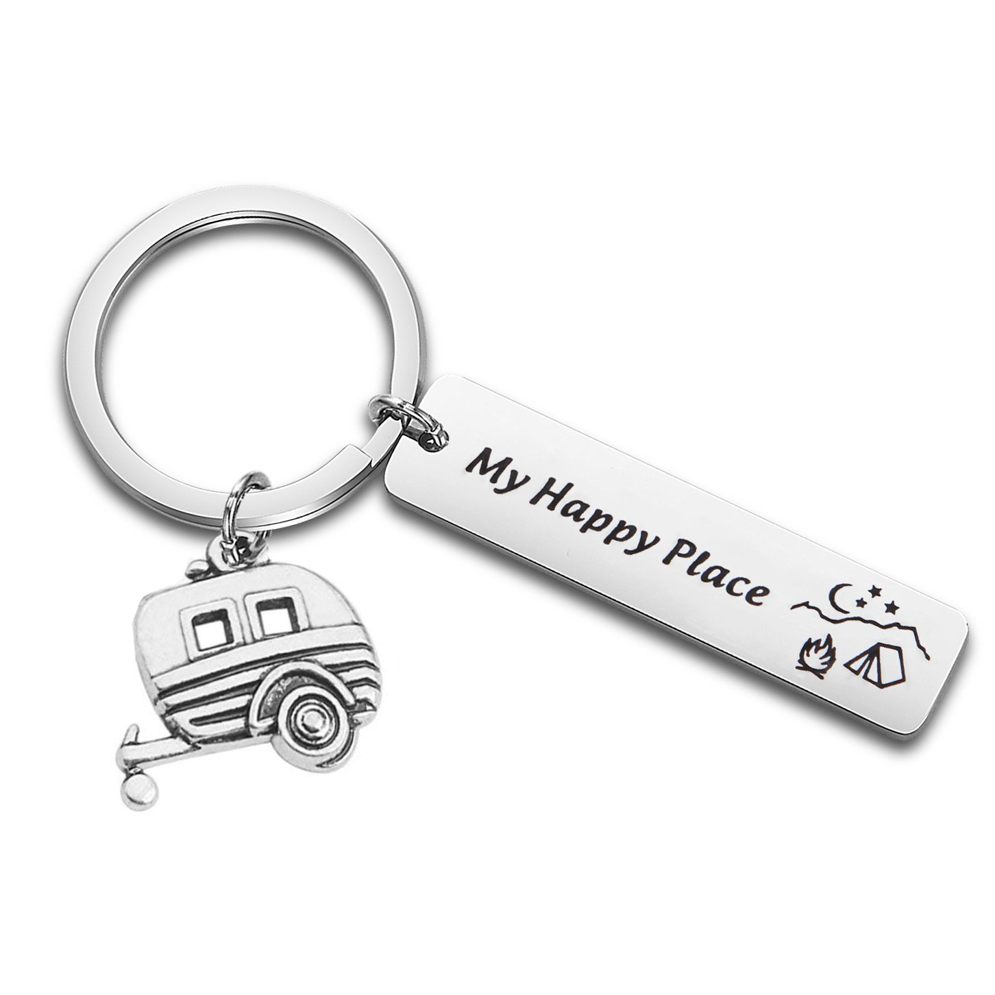 QIIER Camp Keychain My Happy Place Camping Keychain Camp Jewelry RV Camper Gift for Campers, Traveler (Silver)