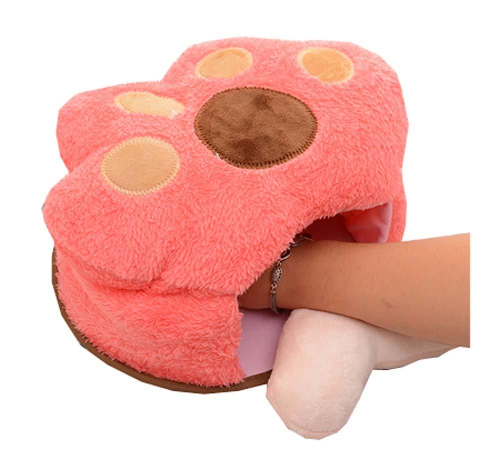 クリエイティブ冬暖かいマウスパッドPlush Hand Warmer加熱マウスマット、ピンクPaw   B07748FFKQ