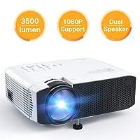 APEMAN Projecteur Mini Vidéoprojecteur, 3500 Lumen Rétroprojecteur Multimédia LED Full HD 1080P, 45000 Heures Cinéma à Domicile Divertissement, HDMI/VGA/AV/TF/USB, Compatible avec TV Stick, Chromecast