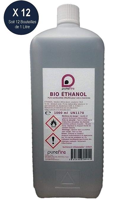 Purefire - 12 botellas de Bio etanol puro (99,8%), combustible