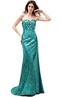 Annas Bridal Womens Long Sequin Prom Dresses Mermaid Evening Gowns