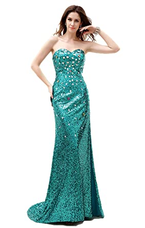 Annas Bridal Womens Long Sequin Prom Dresses Mermaid Evening Gowns ...