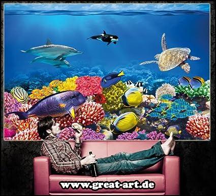 Póster Cuarto de niño Acuario Mural Decoración Mundo submarino Criaturas marinas Océano Peces Defín Tortuga Arrecife | foto póster mural imagen deco pared ...