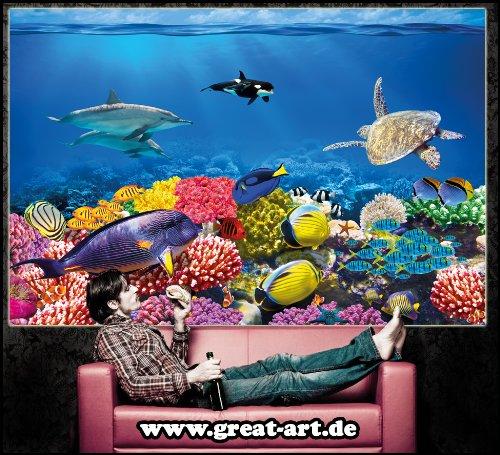 140 x 100 cm GREAT ART Affiche pour d/écoration Murale de la Chambre des Enfants avec Les Images danimaux du Monde sous-Marin tel Que Les Poissons Les Tortues Les Dauphins Les r/écifs coralliens