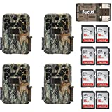 Four Browning Recon Force Advantage 20MP Trail/Game Cameras (1080p) with Eight 16Gb Cards + Focus USB Reader