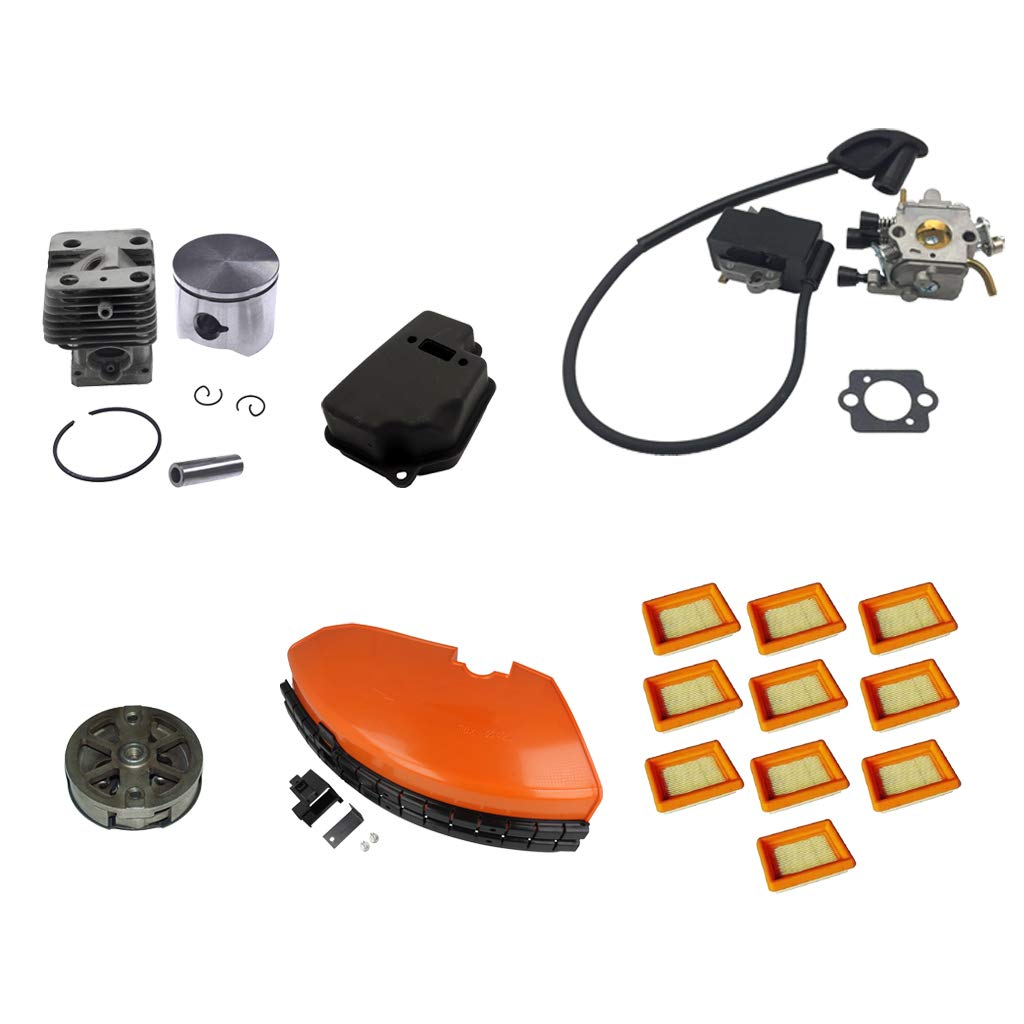 Fityle FS120 Lawn Mower Accessory Assembly Ignition Coil, Trimmer Clutch, Strimmer Guard, Air Filter Kit, Exhaust Muffler, Cylinder Piston Kit