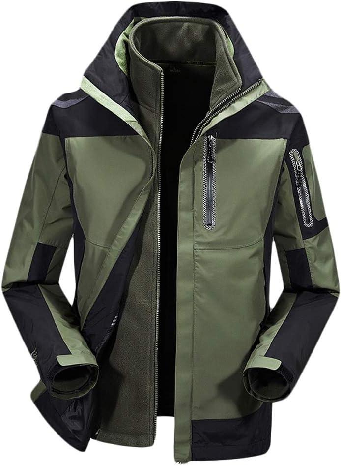 メンズスキーウェア メンズ防風スキー雨雪ジャケット防水ジャケット、通気性レインコートマウンテンハイキングウォーキング旅行アウトドアジャケット スキー休暇用 (色 : アーミーグリーン, サイズ : XXL) アーミーグリーン XX-Large