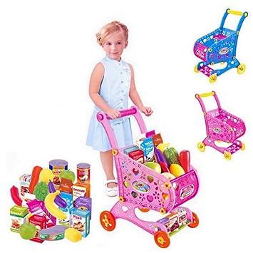 Juguete de Carrito de la Compra para Niños,GZQES,Carro de Compras de Supermercado con Alimento,Comida,Color Azar: Amazon.es: Juguetes y juegos