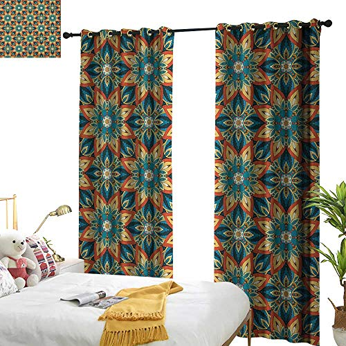 longbuyer Ottoman Drapes for Living Room Ornate Floral Pattern with Vintage Mandala Elements Traditional and Bohemian Design W72 x L108,Suitable for Bedroom Living Room Study, etc. ()