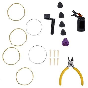 Kit de Herramientas de Guitarra Eléctrica Acústica para Cambiar Cuerdas Conjunto de Herramientas de Mantenimiento de