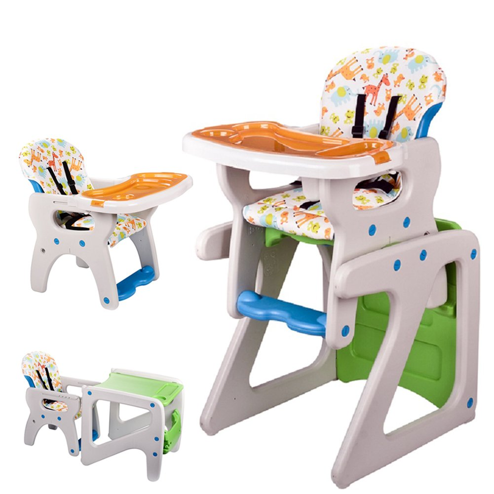 Pf·Ebro 3-in-1 Convertible Deluxe High Chair with Play Table Conversion for 6 Month to 6 Years Children