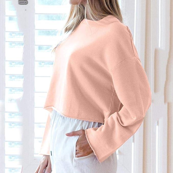Mujer 2018 Otoño Moda Camiseta Casual Mujer Blusa de Manga Larga con Cuello en O Sudaderas Suéter Ocasionales Tops Blusa Pullover Outwear: Amazon.es: Ropa y ...