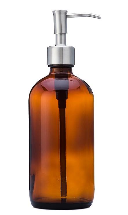 Tarro de cristal ámbar con bomba de acero inoxidable de jabón y loción dispensador – 16