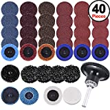SIQUK 40 Pieces 2 inches Sanding Discs Set Quick Change Discs with 1/4 inch Tray Holder Surface Conditioning Discs for Surface Prep Strip Grind Polish Finish Burr Rust Paint Removal