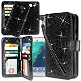Galaxy J7 V Case, Galaxy J7 Perx Case, Linkertech Detachable 2 in 1 Glitter Shiny PU Leather Flip Wallet Case with Card Slots and Wrist Strap for Galaxy J7 2017 / J7 Sky Pro / Galaxy HALO (Black)