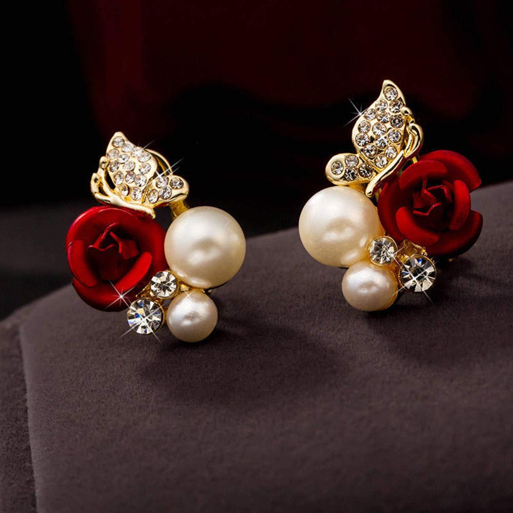 ❤Ywoow❤ Female Earrings, 1 Pair Red Rose Flower Imitation Pearl Plated Crystal Stud Earring