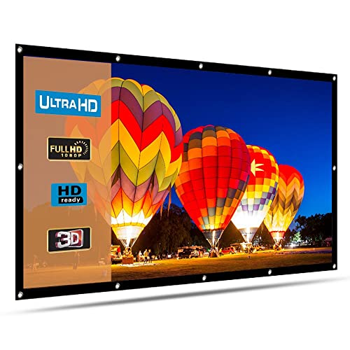 HENZIN 100 Inch Projector Screen 16:9 HD 4K Portable Projection Screen Foldable for Home Theater Cinema Indoor Outdoor Front and Rear Projection