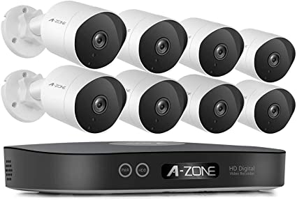 A-ZONE Security Camera System, 8-Channel Full HD 1080P Bullet POE System